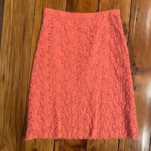 Coral lace print skirt
